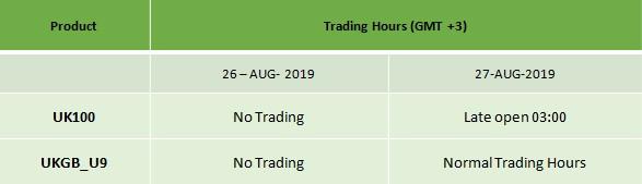 UK Summer Bank Holiday Schedule 2019 2